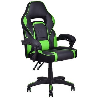 Costway Executive Racing Style PU Leather Gaming Chair High Back Recliner Office Green
