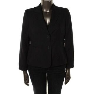 Kasper Womens Notch Collar Pintuck Two-Button Blazer - 10