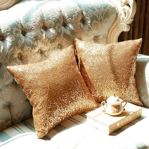 """Glamour Glitter Sparkles Decorative Throw Pillow Cover for Couch, Bedroom, Sofa 18"""" x 18"""""""