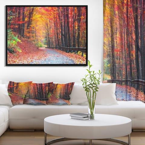 Designart 'Road in Beautiful Autumn Forest' Modern Forest Framed Canvas Art