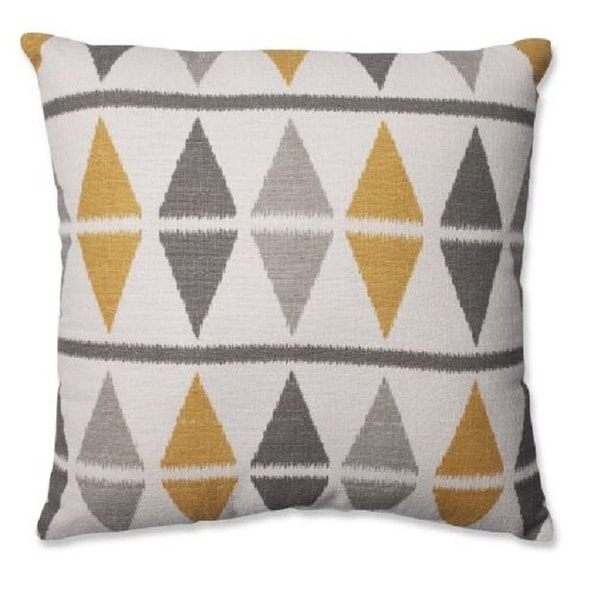 "18"" Gray and Off White Diamonds Themed Indoor Square Throw Pillow"