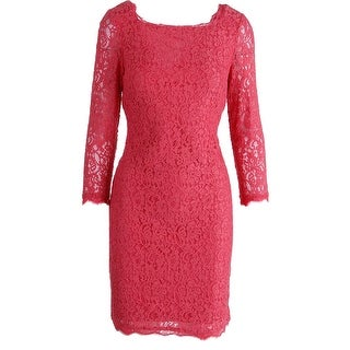 Adrianna Papell Womens Lace 3/4 Sleeves Cocktail Dress