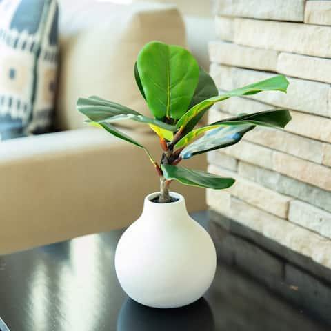 """15"""" H Fig Leaf in Ceramic Vase,Cream - ONE-SIZE"""