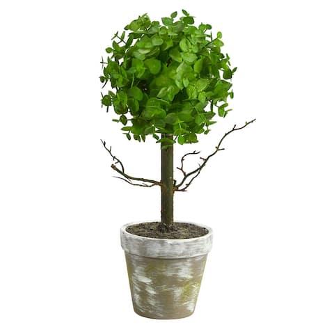 """15"""" Eucalyptus Topiary Artificial Tree - 6"""""""