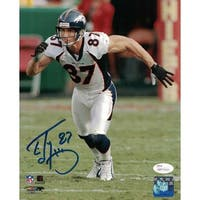 Ed McCaffrey Autographed Denver Broncos 8x10 Photo White JSA
