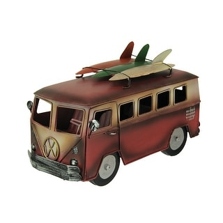 Red and White 60s Style Beach Bus with Surfboard Rack - 6.5 X 9.75 X 5.25 inches