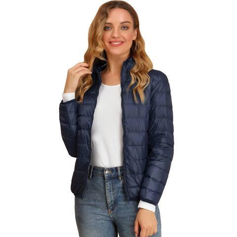 Allegra K Women's Hooded Packable Thickened Down Jacket Coat