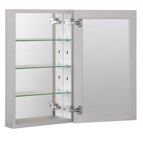 "Foremost MMC1930 19"" Single Door Mirrored Medicine Cabinet with Slow - Aluminum"