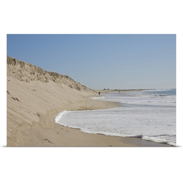 """""""Foam-covered water reaching mound of sand"""" Poster Print"""