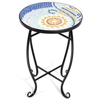 Costway Outdoor Indoor Accent Table Plant Stand Scheme Garden Steel Ocean