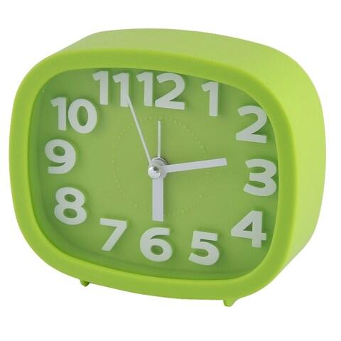Household Office Desktop Plastic Oval Silent Battery Powered Alarm Clock Green