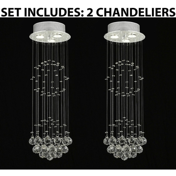 Modern Contemporary Empress Crystal *Rain Drop* Lighting With Crystal Balls H31 x W10 *Set Of 2*