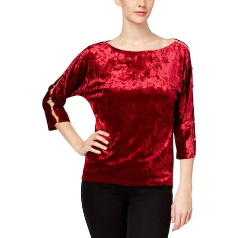 Cable & Gauge Womens Pullover Top Velour Cut-Out