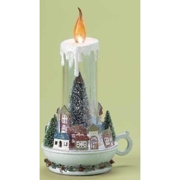 "11"" LED Lighted Winter Village Scene Christmas Candle - CLEAR"