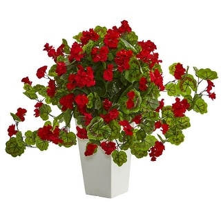 Nearly Natural Geranium Artificial Plant in White Tower Planter, Red