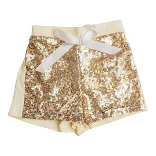Think Pink Bows Girls Yellow Gold Sparkle Sequined Sunshine Shorts