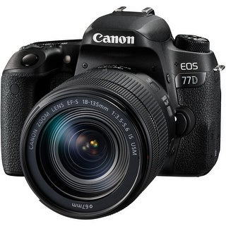 """Canon EOS 77D 24.2 Megapixel Digital SLR Camera with Lens - 18 mm - 135 mm - 3"""" Touchscreen LCD - 16:9 - 7.5x Optical Zoom - Opt"""