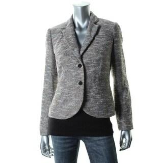 Calvin Klein Womens Petites Metallic Tweed Two-Button Blazer - 10P