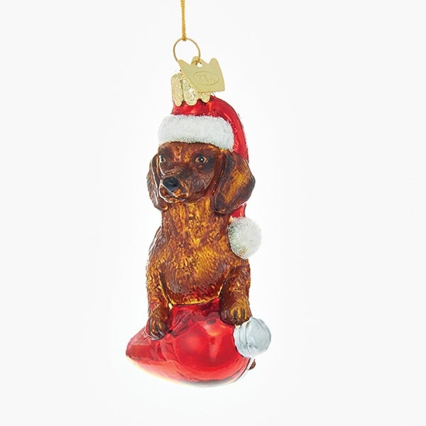 35 noble gems dachshund in santa hat with retro c7 bulb glass christmas ornament