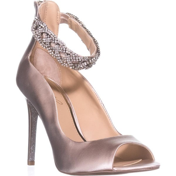 Jewel Badgley Mischka Alanis Ankle-Strap Sandals, Champagne Satin