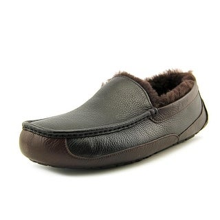 Ugg Australia Ascot Men Leather Black Moccasin Slippers Shoes