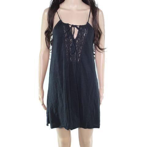 Roxy Womens Shift Dress Blue Size XS Tie Front Lace Tassle Keyhole