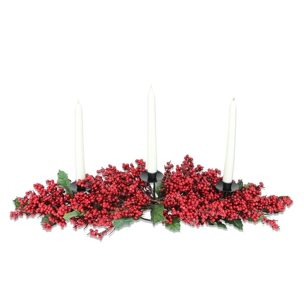 """28"""" Red Berry 3 Candle Holder Centerpiece With Candles - Gift Boxed"""