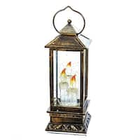 """10.75"""" Brown Distressed Battery Operated Swirl Lantern with LED Light Candles"""