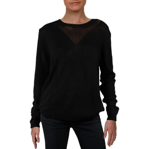 Dee Elle Womens Pullover Sweater Lightweight Long Sleeve - Black - L