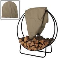 Sunnydaze Firewood Log Hoop Black Steel Easy Access Storage - Multiple Options
