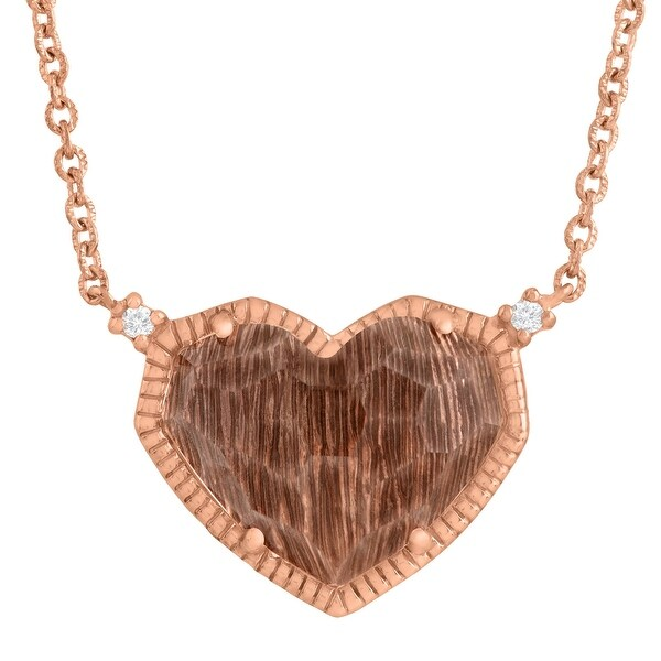 5 ct Natural Quartz Heart Necklace with Diamonds in 14K Rose Gold-Plated Sterling Silver