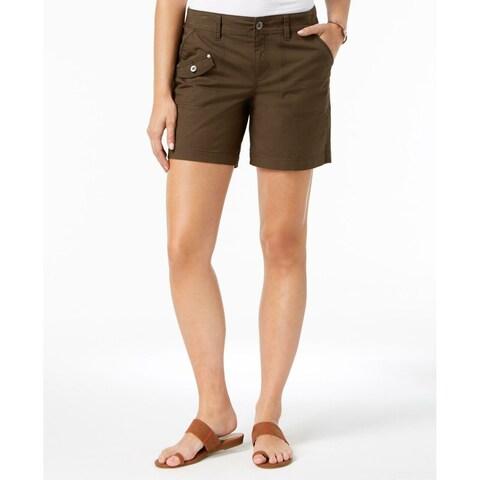 Style & Co Deep Moss Green Women's 16 Mid Rise Multi Pocket Shorts