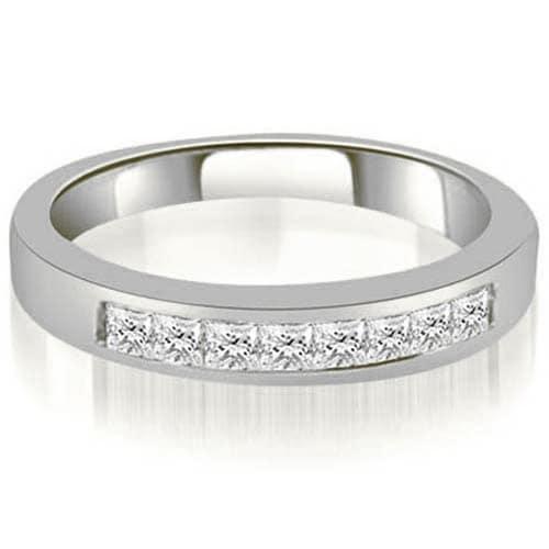 0.40 cttw. 14K White Gold Channel Set Princess Cut Diamond Wedding Band