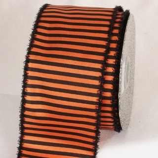 "Pumpkin Orange and Midnight Black Striped Wired Craft Ribbon 3"" x 20 Yards"
