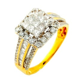 1cttw Princess Cut Diamond Wedding Ring 10K Yellow Gold Large 10mm Square Halo Wide Band(i2/i3, i/j)