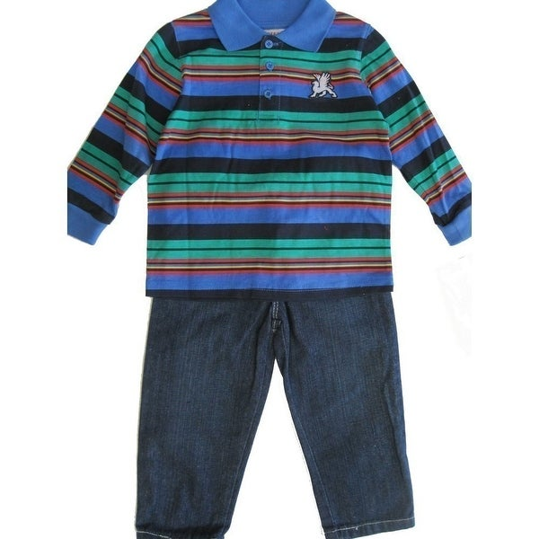 3a4a882b7 Shop Carters Little Boys Multi Color Stripe Patch T-Shirt Denim 2 Pc Pant  Set 2T-4T - Free Shipping On Orders Over $45 - Overstock - 18167019