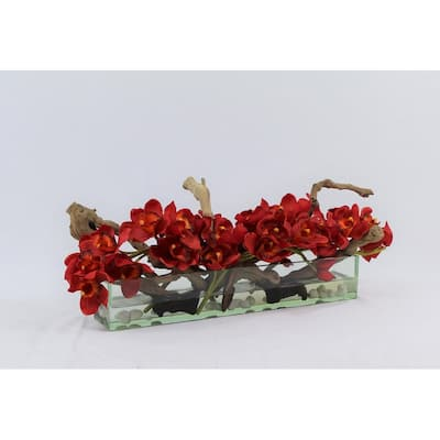 Cymbidium Orchids and Driftwood Centerpiece in Glass Planter