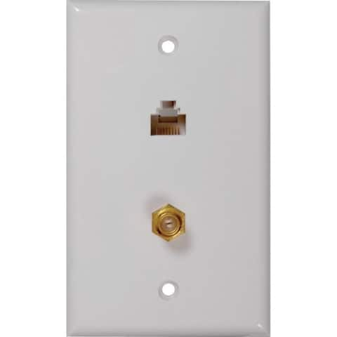 RCA TPH557R CAT-5E/6 F & Coaxial Connector Wall Plate - Pictured