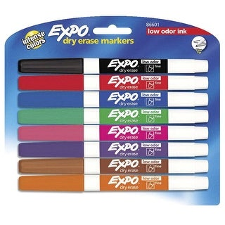 EXPO Low Odor Dry Erase Marker, Fine Tip, Assorted Colors, Set of 8