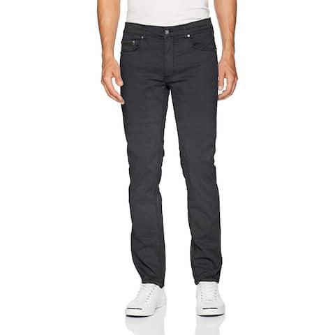 Bugatchi Mens Pants Black Size 38x34 Slim Straight Leg Coated Stretch