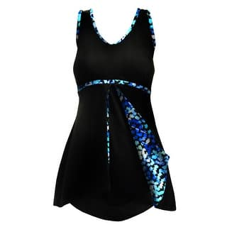 Peek-a-Boo Front Flirty Swimdress in Solid Black w/Blue Speckle Accent (Option: 22w)|https://ak1.ostkcdn.com/images/products/is/images/direct/dc01c65716825c1a1974e2500ba94ef7d86cc777/Rodan-Swimwear-by-Oxygen%27s-Peek-a-Book-Front-Flirty-Swimdress-in-Solid-Black-w-Blue-Speckled-Accents.jpg?impolicy=medium
