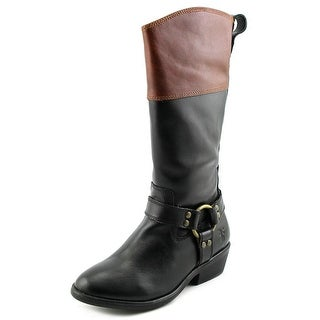 Frye Melissa Harness Youth Round Toe Leather Black Knee High Boot