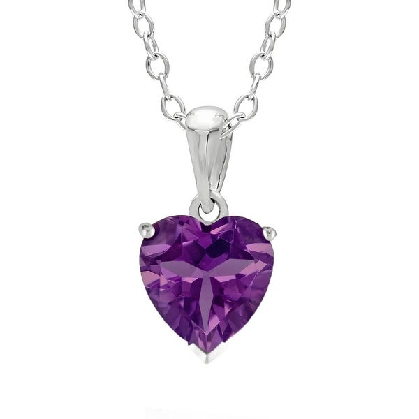 Heart-Shaped Birthstone Sterling Silver Pendant Necklace. Opens flyout.