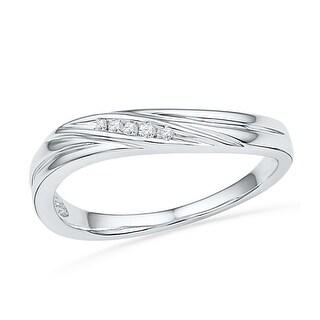 0.02Ctw Diamond Fashion Ring White-Gold 10K