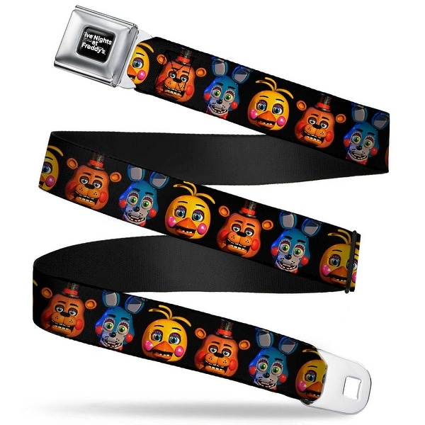 Five Nights At Freddy's Logo Weathered Full Color Black White Toy Freddy Seatbelt Belt