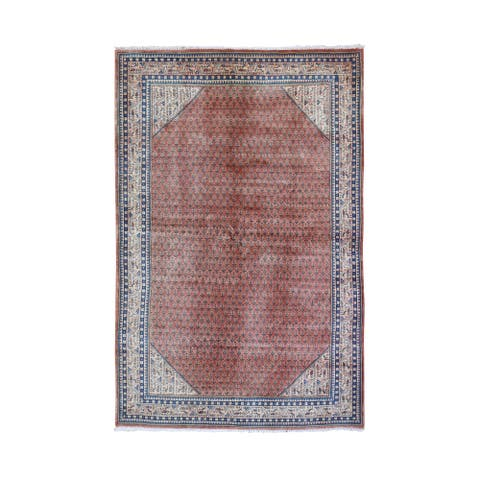 """Shahbanu Rugs Vintage Persian Sarouk Mir with Small Boteh All Over Design Pure Wool Hand Knotted Oriental Rug (4'6"""" x 7'3"""")"""