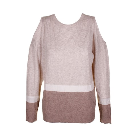 Inc International Concepts Ivory Brown Heather Cold-Shoulder Crew Neck Sweater
