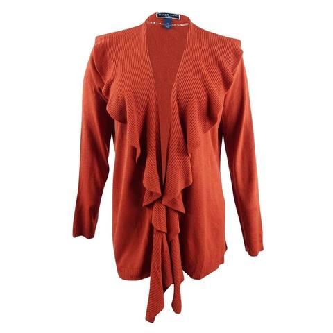 Karen Scott Women's Plus Size Luxsoft Ruffled Cardigan (2X, Red Ochre) - Red Ochre - 2X