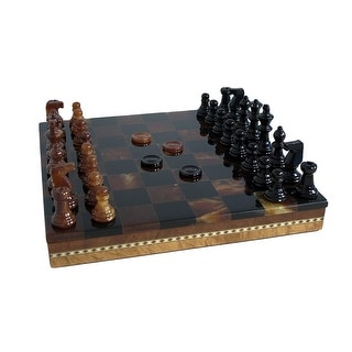 Black & Brown Alabaster Inlaid Chest Chess Set - Multicolored
