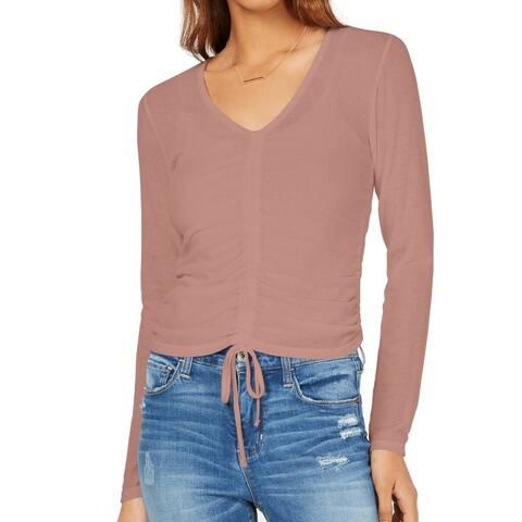 Ultra Flirt Womens Top Mauve Pink Size Medium M Knit Ruched V Neck Ribbed 211